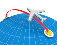 Airline Travel Concept. Airplane flying destination direction with globe background 3d illustration Stock Photo