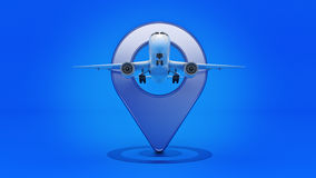 Airline travel concept. Airport pointer. Airplane and pin isolated on white. Royalty Free Stock Image