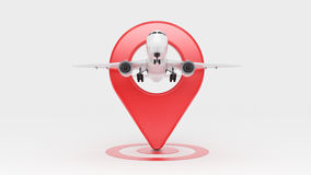 Airline travel concept. Airport pointer. Airplane and pin isolated on white. Stock Photography