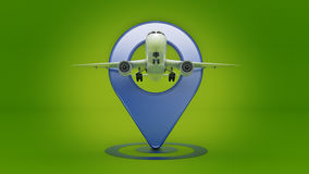 Airline travel concept. Airport pointer. Airplane and pin isolated on white. Royalty Free Stock Images
