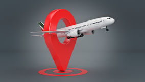 Airline travel concept. Airport pointer. Airplane and pin isolated on white. Stock Image
