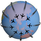 Airline Travel Destination Asia. Airline Travel Destination: Asia. Group of airplane flightpaths to an Asian airport. Add your text to the map royalty free illustration