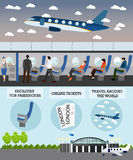 Airline travel passengers concept vector banner. People in airplane. Aircraft transport interior Royalty Free Stock Photography