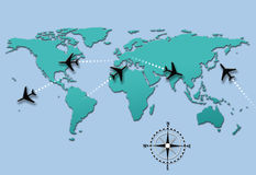 Airline travel plane flight paths on world map vector illustration