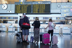Airline Travel. VALENCIA, SPAIN - MAY 3, 2016: Airline passengers checking in at the Valencia Airport. About 4.98 million passengers passed through the airport Royalty Free Stock Photo