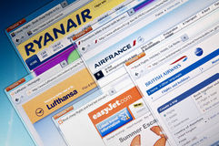 Airline web sites Stock Images