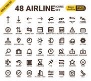 Airline web universal pixel perfect line icons Royalty Free Stock Photos