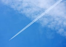 Airliner. Jet airliner against blue sky Stock Photo