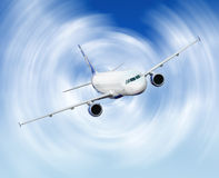 Airliner. Airplane sky blue flight Stock Photo
