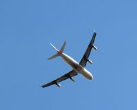 Airliner. Jet isolated against blue sky Royalty Free Stock Images