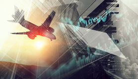 Airliner above business center. Double exposure of airplane and moden cityscape royalty free stock photos