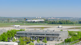 Airliner Airbus A340 of Lufthansa airline landing in Munich airport Stock Photography