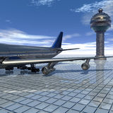 Airliner with a blue sky Stock Photography