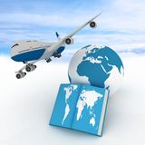 Airliner and book on sky background. Royalty Free Stock Photos