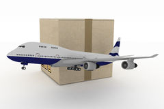 Airliner with box on white Stock Photography