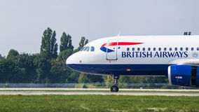 Airliner by British Airways close-up view stock photos