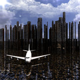 Airliner with a city Stock Photography