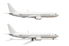 Airliner. Commercial airliner on land and flying isolated on white background royalty free stock photos