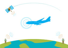 Airliner communication concept. EPS10 vector illustration. Flat concept illustration of an airplane communicating with satellite and control towers. Vector and royalty free illustration
