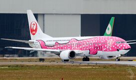 Airliner decorated as a pink fish Stock Photo