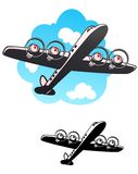 Airliner, Fifties Style. Old fashioned four engine passenger plane Royalty Free Stock Photos