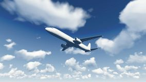 Airliner flies through the cloudy sky 2 Royalty Free Stock Photo