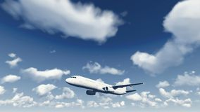 Airliner flies through the cloudy sky 1 Royalty Free Stock Images