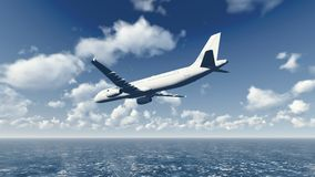 Airliner flies over ocean 5 Royalty Free Stock Image