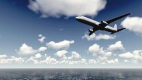 Airliner flies over ocean 3 Stock Photo
