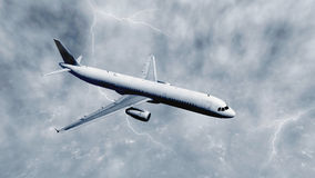 Airliner flies through stormy clouds Stock Image