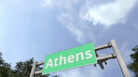 Airliner flies to Athens. Travelling to Greece conceptual 3D animation. Airliner landing in the city. 3D stock video footage