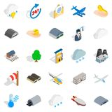 Airliner flight icons set, isometric style. Airliner flight icons set. Isometric set of 25 airliner flight vector icons for web isolated on white background Stock Photography