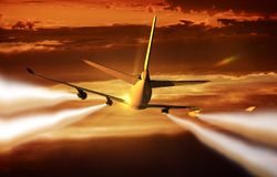 Airliner Flight Rear View Royalty Free Stock Image