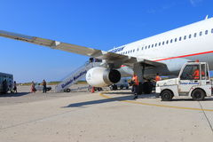Airliner after flight royalty free stock photography