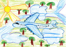 Airliner fly high above the earth, child drawing pencil on paper Stock Image