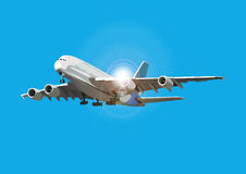 Airliner flying against the sun, vector illustration. Airplane on separate layer Royalty Free Stock Photos