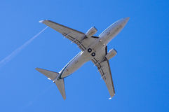 Airliner. An airliner flying directly overhead Stock Image
