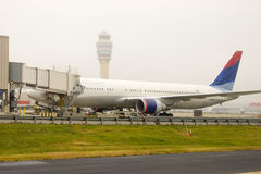 Airliner at Gate. Airliner parked at the gate royalty free stock photos