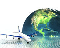 Airliner with a globe Royalty Free Stock Photo