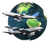 Airliner with a globe Royalty Free Stock Images