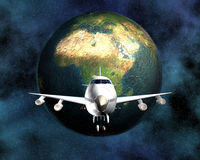 Airliner with a globe Stock Photos