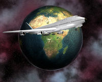 Airliner with a globe Stock Image