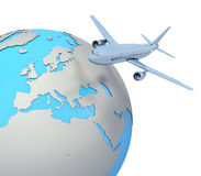 Airliner with a globe. Isolated white Royalty Free Stock Photo