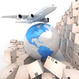 Airliner with a globe and boxes Royalty Free Stock Image