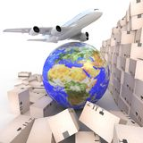 Airliner with a globe and boxes Stock Images