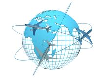 Airliner with a globe Royalty Free Stock Photography