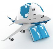 Airliner with globe Stock Photos