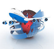 Airliner with a globe in the white Royalty Free Stock Image