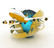 Airliner with a globe in the white background. Royalty Free Stock Images