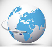 Airliner with globe in the white background Stock Images